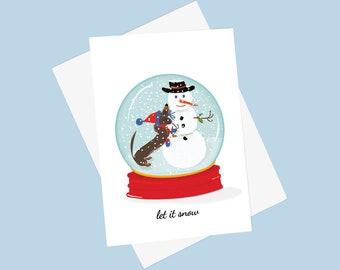 Doxie Snow Globe Card - Holiday Dachshund Card - Winter Weiner Dog Card - Snowman Holiday Card
