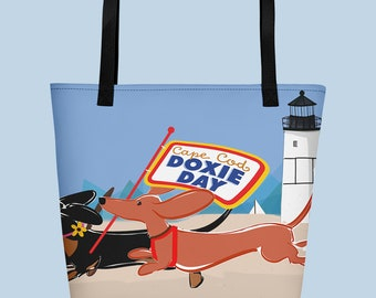 Cape Cod Doxie Day Extra Large Tote Bag - Racing Dachshunds on the Beach - Sausage Dog Beach Tote