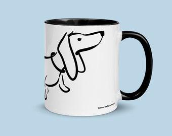 Line Drawing Smooth Dachshund Mug - Black and White Doxie Mug - Wiener Dog Mug - Smooth Dachshund Mug - Mug For Sausage Dog Lover