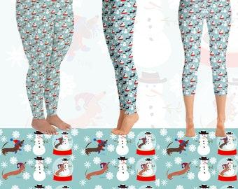 Snow Globe Holiday Dachshund Yoga Leggings - Christmas Doxie Yoga Leggings - Dog Leggings - Sausage Dog Leggings - Dachshund Gift for Women