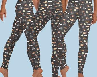 Halloweener Yoga Leggings - Dark Grey Doxie Leggings - Halloweenie Leggings - Sausage Dog Leggings - Yoga Leggings for Dachshund Lover