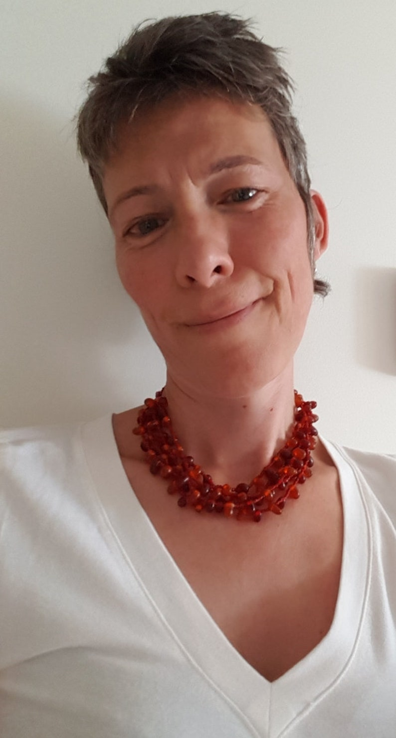 Vintage 5 Strand Beaded Necklace Beads Jewelry Burgundy Orange Beaded NecklaceArt Deco Beads Necklace Colorful Jewelry Chunky Necklace