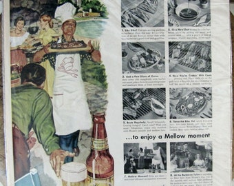 Hamm's beer ad, Hamm's beer here's how to stage a smooth barbecue, Vintage hamm's beer ad, 1949 Hamm's beer ad Kitchen Wall Decor