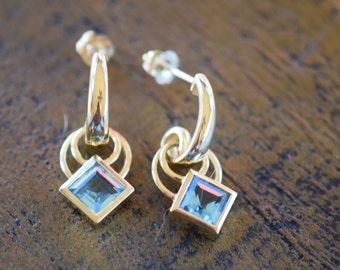 14 Karat Yellow Gold Blue Topaz Gemstone Earrings, Used Vintage Retro Dangle -s035-