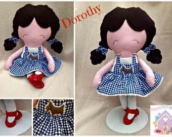 Dorothy Doll - Fabric Wizard Of Oz Themed Doll Made to Order