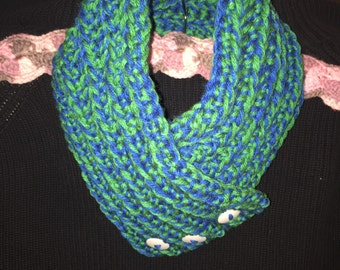 Blue/Green multi cowl with button detail