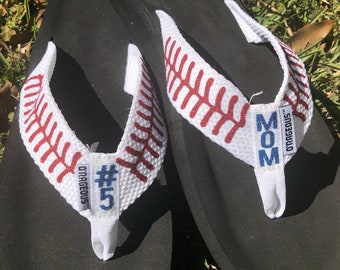 37cca5ca7172 Personalized Baseball Flip Flops