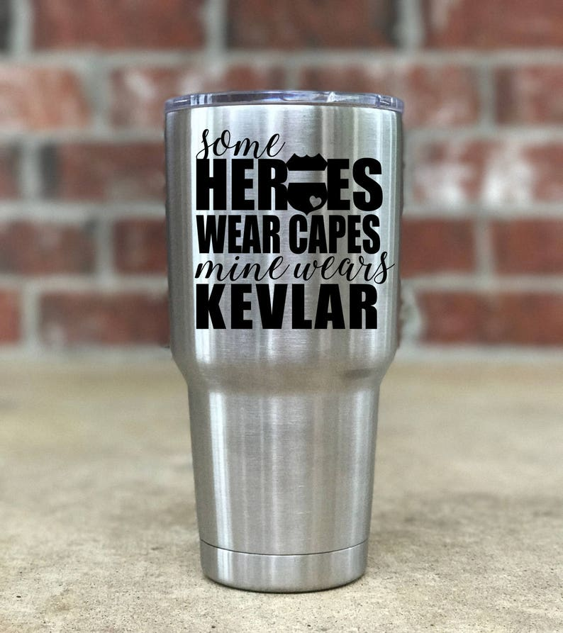 471850909406 Some Heroes Wear Capes Mine Wears Dog Tags Police Yeti, Personalized Yeti,  Police Spouse Gift, Police Child Gift, Police Engraved Yeti Y013