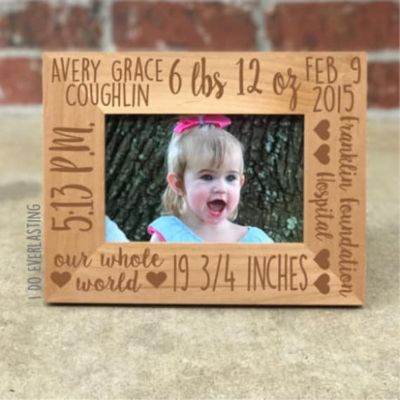 Personalized Baby Stats Picture Frame Baby Picture Frame Etsy
