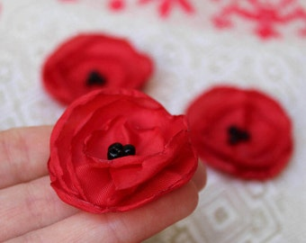 Red Poppy Brooch,Set of 3,Red Black Flower Pin,Ukrainian folk,Red Poppy Pin,Womens hair clip,Remembrance Day,Poppies hair clip, Veterans Day