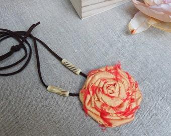 Long boho necklace, fabric flower, orange rosette necklace, silk rose flower, rose floral fabric, bohemian jewelry, yellow bib necklace