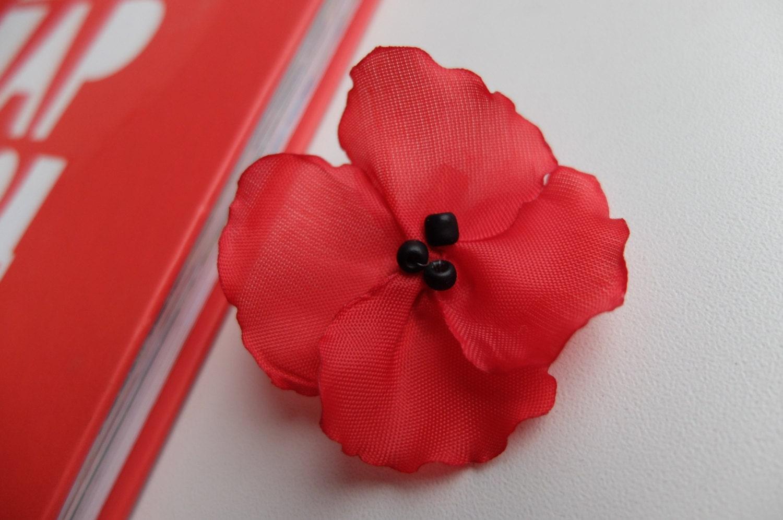 Red Poppy Pin Brooch Flower Broochred Silk Flower Pin Etsy
