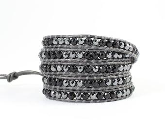 Black Leather Beaded Wrap Bracelet,Beaded Bracelet, Black Wrap Bracelet, Beaded Leather Wrap Bracelet,Boho Wrap Bracelet,Bracelet for Woman