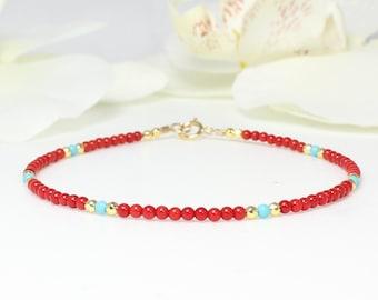 Red coral bracelet   Etsy