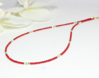 c3fabbd7e Red Short Necklace,Tiny Red Coral Necklace,Beaded Necklace,Tiny Stones Beaded  Necklace,Beaded Necklace For Woman,Gift for her