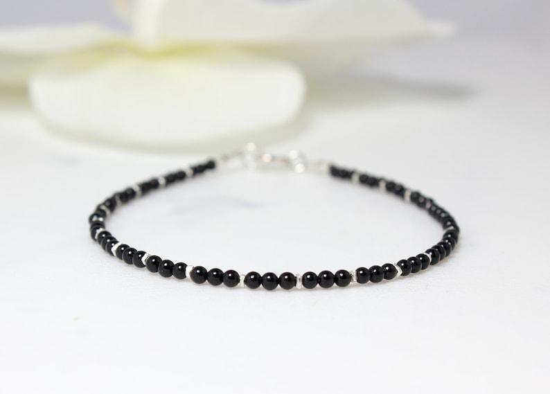 Black Bracelet,Tiny Onyx Beaded Bracelet,Minimalist Gemstone Beaded Bracelet,Stacking Bracelet,Bracelet for woman