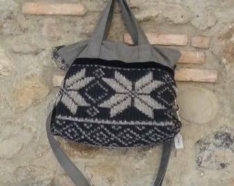 Fabric and jacquard wool bag