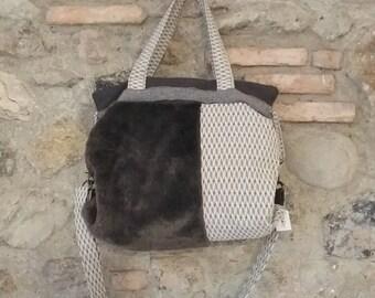 Fabric and fur bag