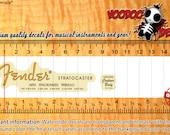Fender Stratocaster 50s - Orange Logo - Vintage look Headstock Waterslide Decals