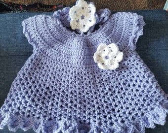 Infant Crochet Baby Dress and Headband
