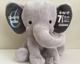 New Baby Gift -- Custom Elephant -- Personalized Name and Birth Statistics -- Baby Shower Gift