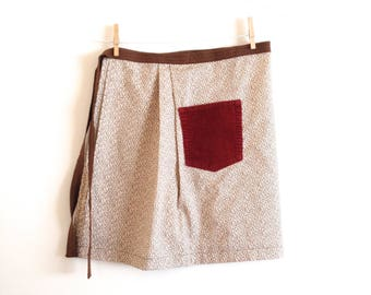 Brown and Red Floral Half Apron with Corduroy Pocket