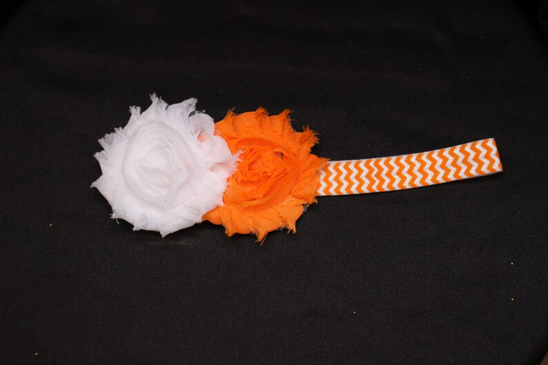 Baby Girl Tutu Set Toddler Tutu Shabby Flower Chevron Headband Cake Smash First Birthday Tutu Newborn Photo Prop Orange White Halloween tutu