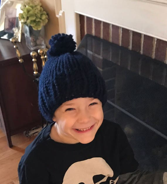 Kids Knit Hat Navy Blue Kids Knitted Pom Pom Hat Boys Knit  cca2abf4584