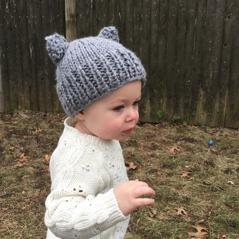 a26249905 Kids Knitted Hat with Bear Ears, Gray Knit Baby Hat, Gray Knit Toddler Hat,  Baby Boy Hats, Knit Baby Gift, Baby Hat, Baby Girl