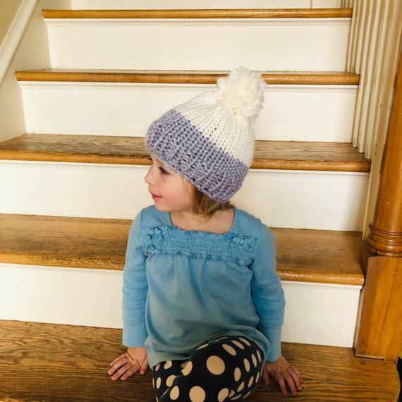 Knitting Pattern Kids Hat in a Chunky Knit with Pom Pom in  14bfefaa550