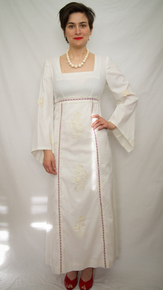 1960's white embroidered maxi dress