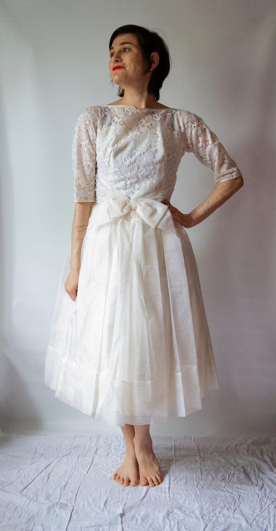 1950's white lace party dress