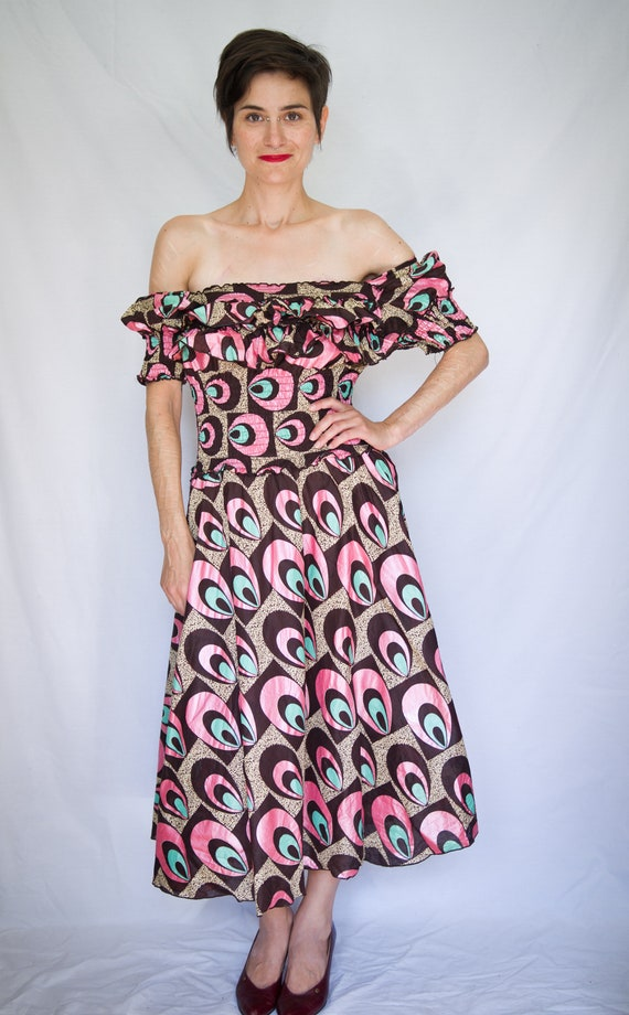 Funky 70's off the shoulder dress