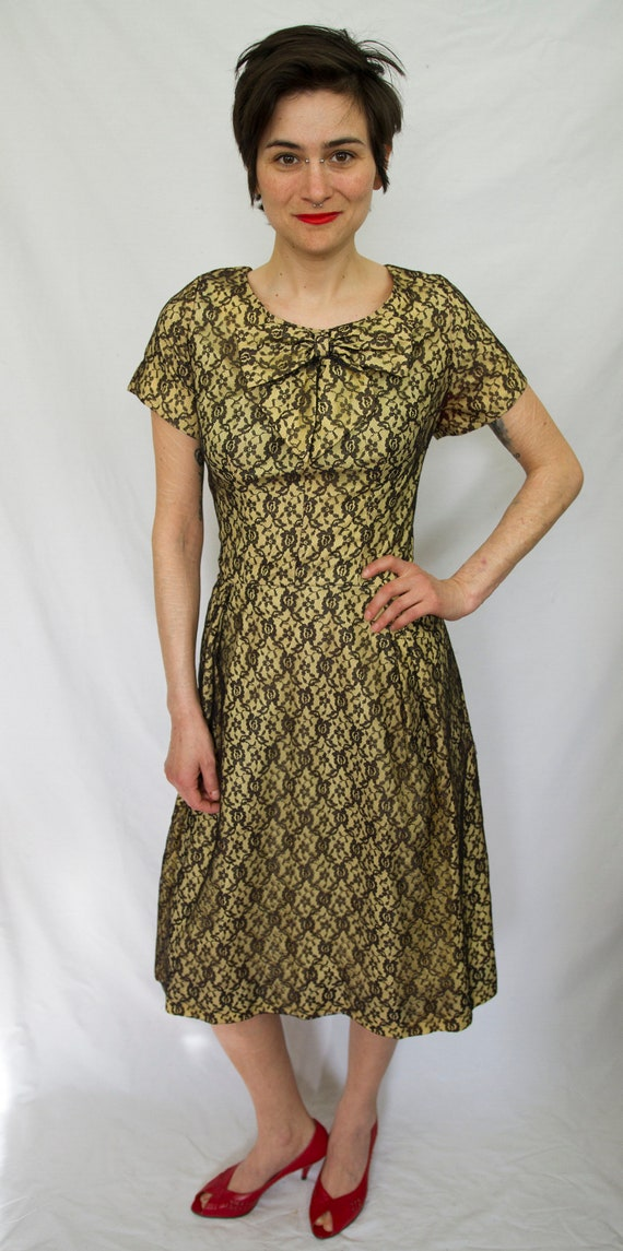 50's lace overlay day dress