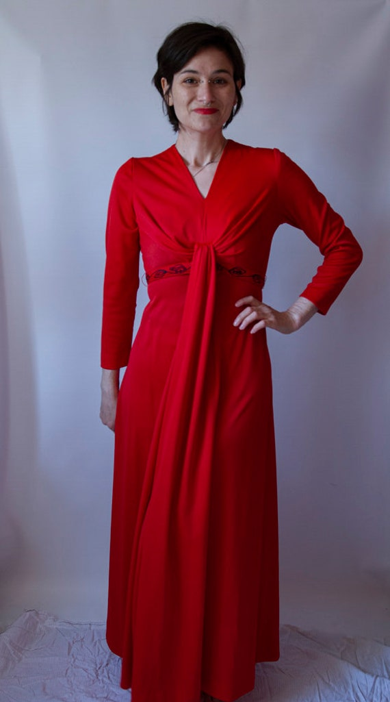 1970's red maxi dress