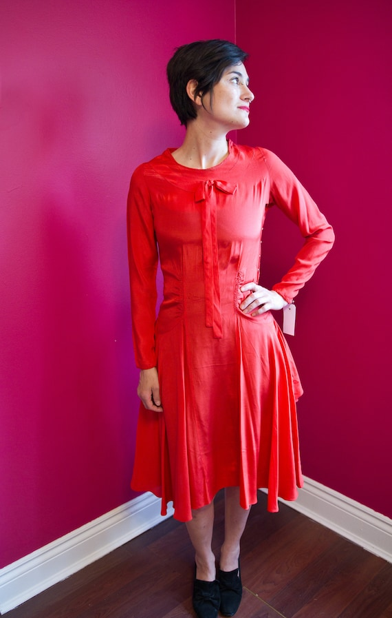 1920's red silk day dress *AS IS*