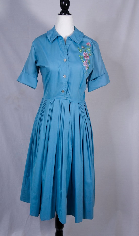 1950's handpainted day dress - image 1