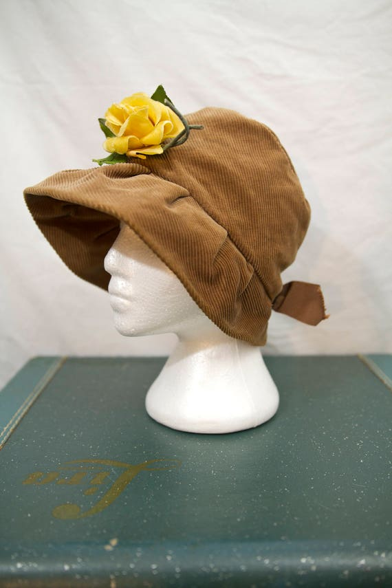 1940's corduroy hat with yellow velvet rose