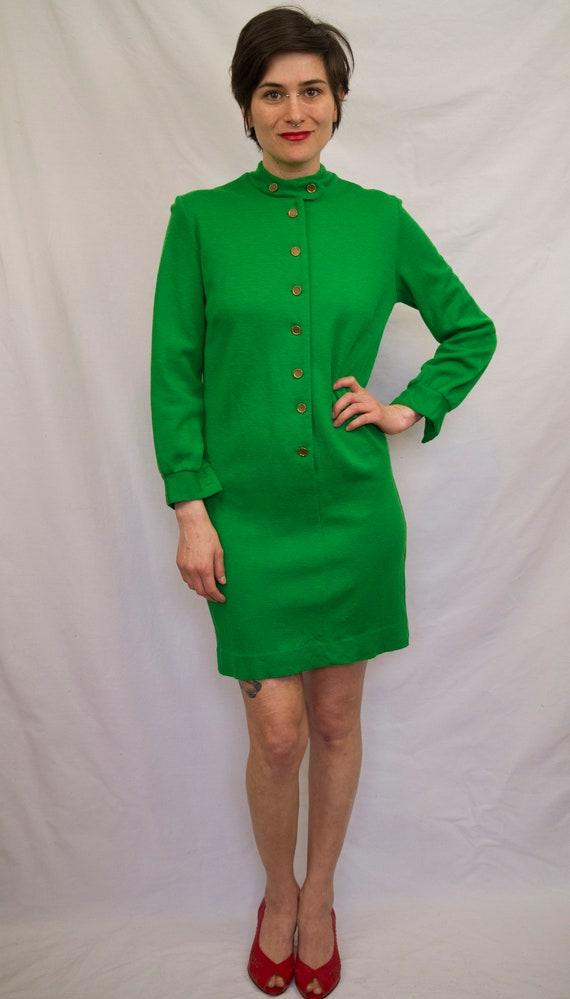 60's kelly green wool mini dress