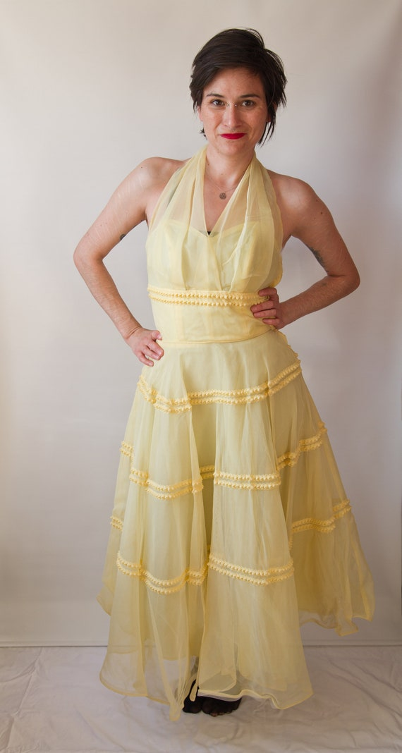 1950's yellow tulle formal gown