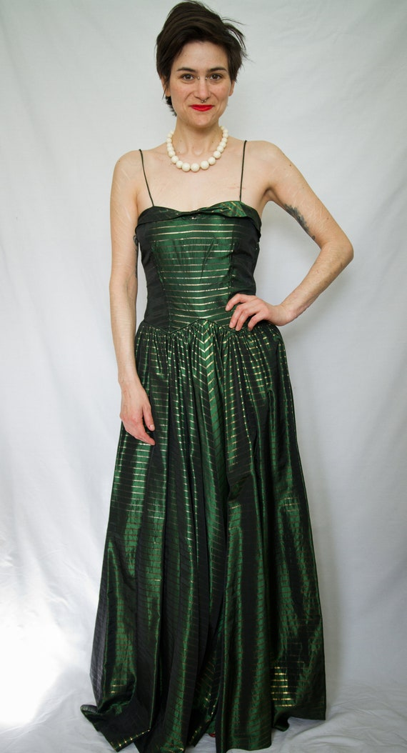 Green and gold 40's evening gown