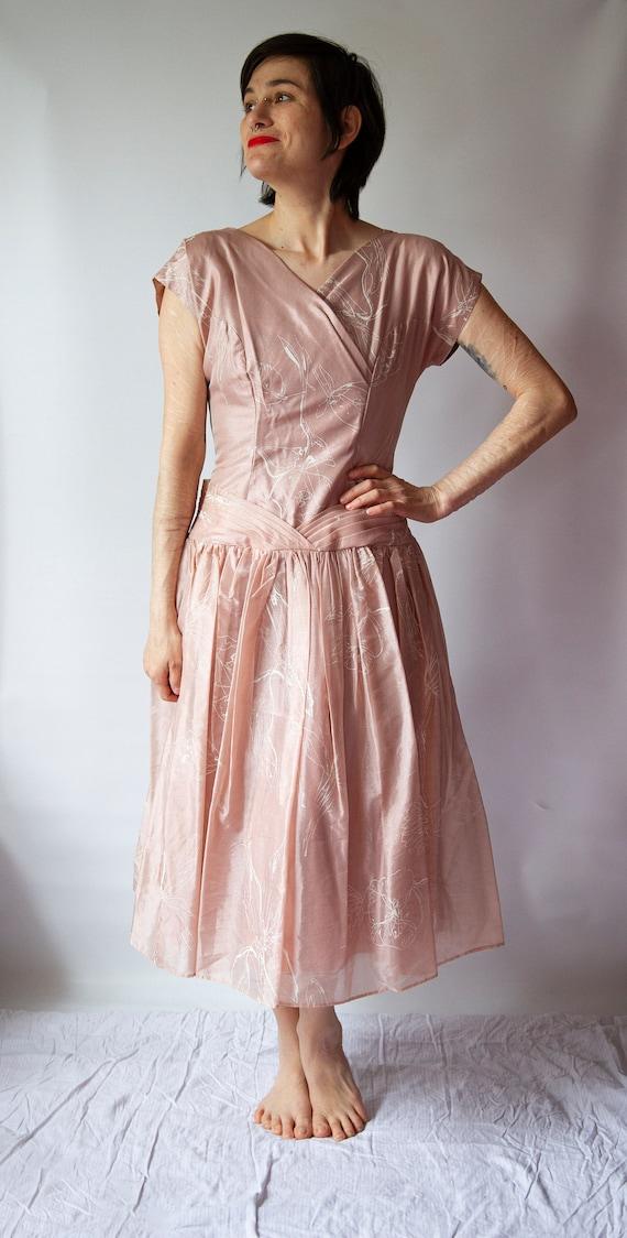 1950's 'Dress Town' pastel pink dress