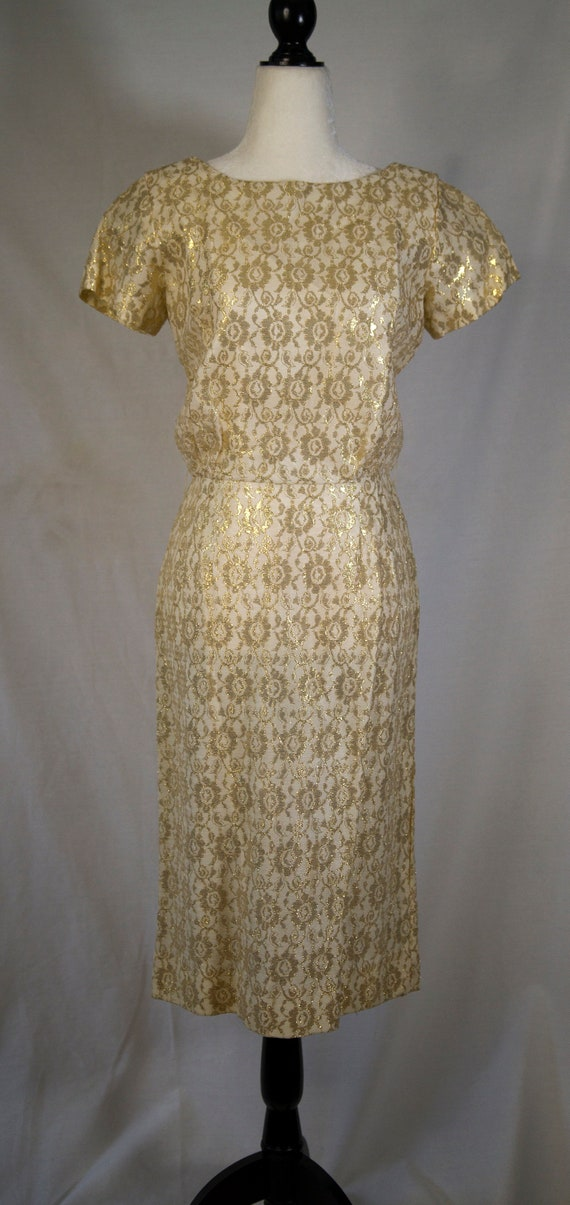 Gold 1950's evening dress