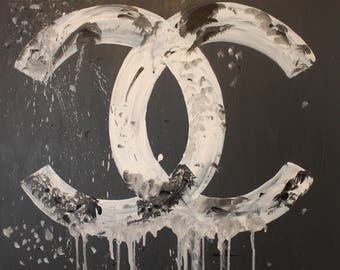 Designer Logo Inspired Dripping Paint Creative Glamour Art Acrylic Painting