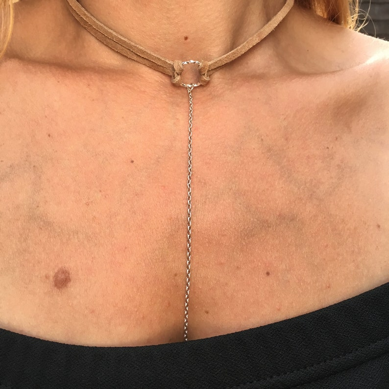 Choker Circle Necklace  Brown Beige Leather with 925 Sterling Silver  Long chain Choker with hanging chain Chokers