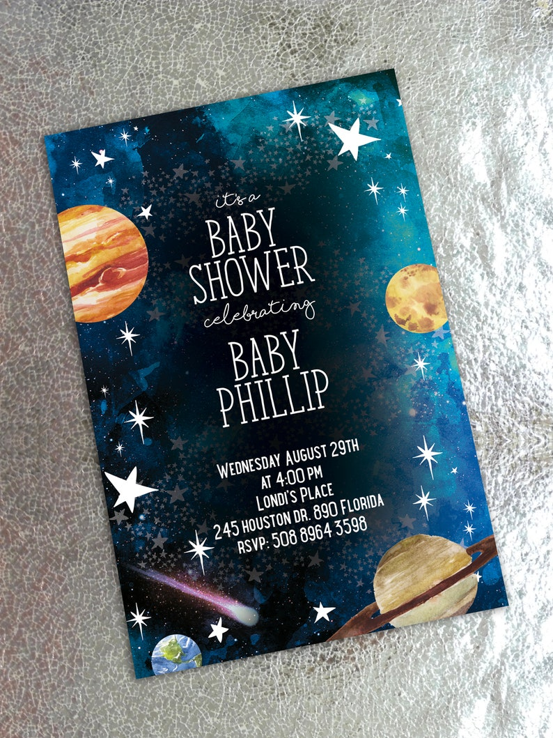 Space Baby Shower or Birthday Invitation image 0