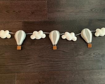 Handmade felt garland, hot air balloons, clouds,