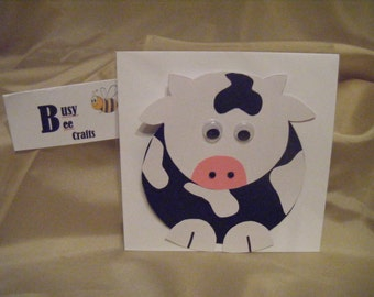 Handmade Pack of 10 Mr Cow Party Invites   (ready to ship)