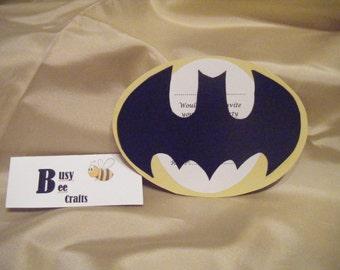 Handmade Pack of 10 Batman Party Invites   (ready to ship)