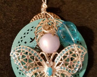 Multimedia with Sterling Silver butterfly